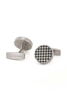 'Andrew' | Houndstooth Enamel & Brass Cufflinks, Black