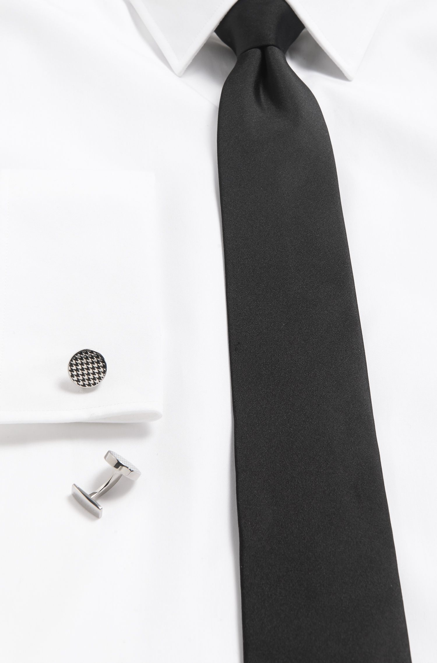 Houndstooth Enamel & Brass Cufflinks | Andrew, Black