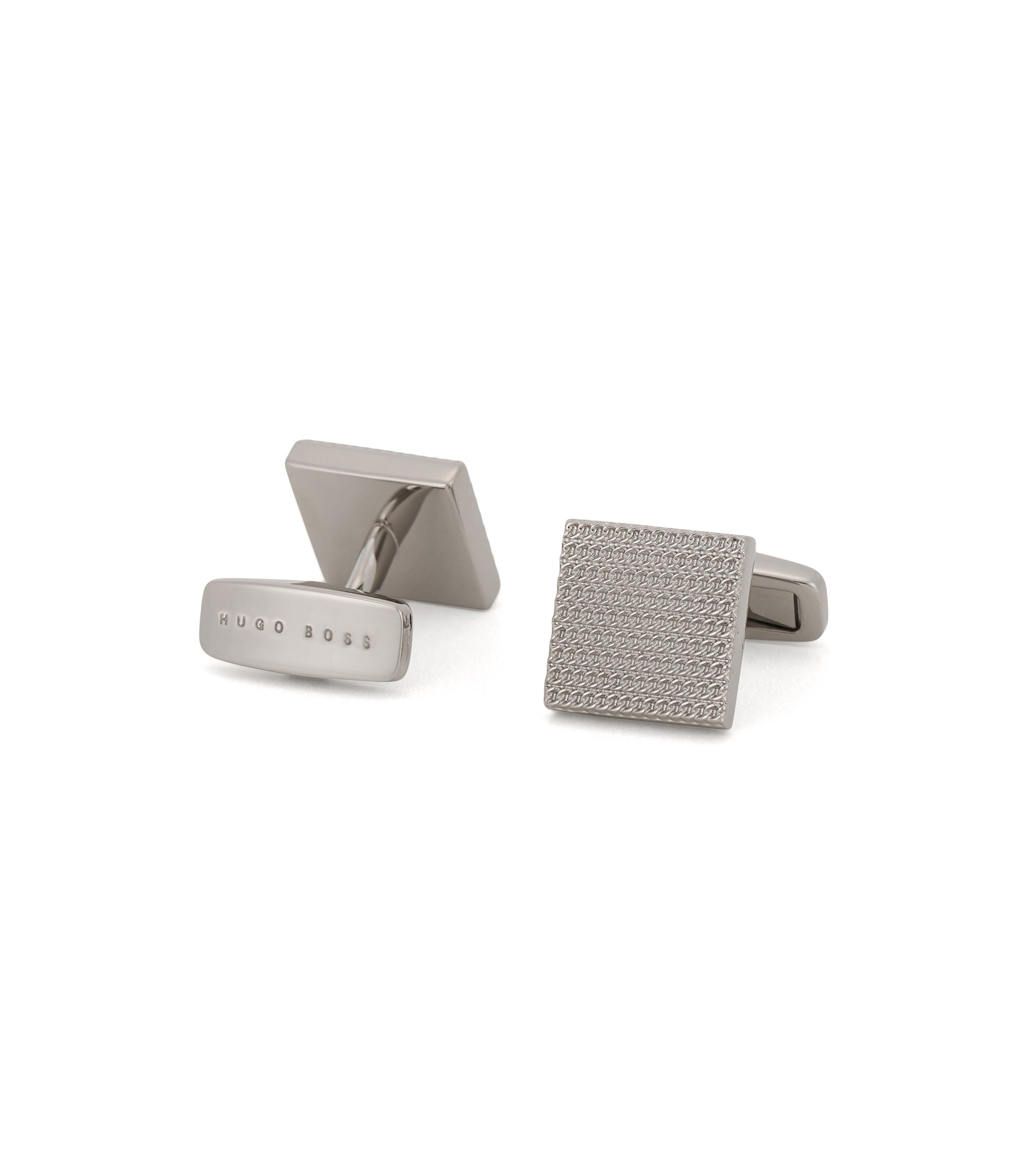 Basketweave Brass Cufflinks | T-Harris, Silver