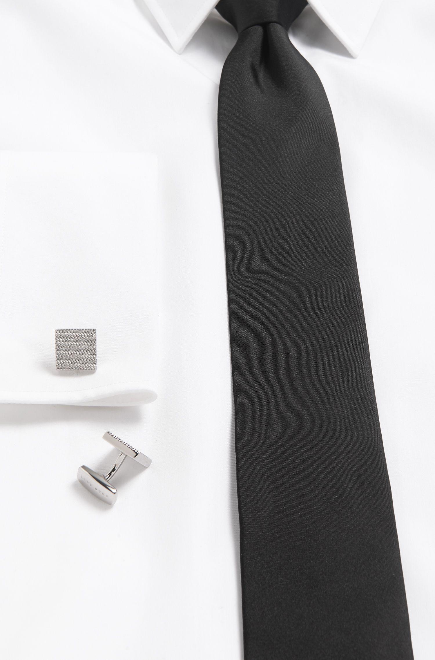 Basketweave Brass Cufflinks | T-Harris, Silver