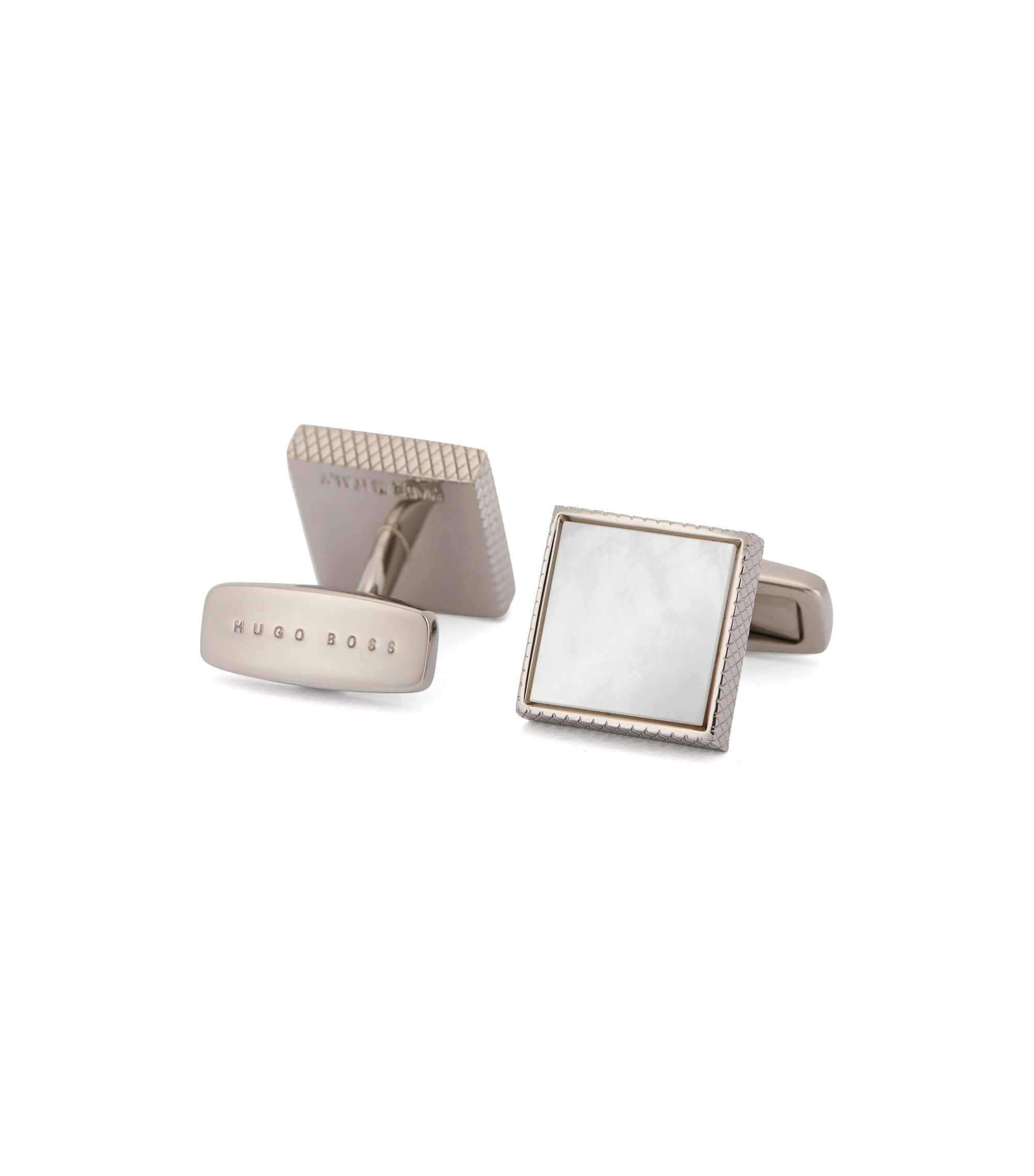 Mother-Of-Pearl Brass Cufflinks | T-Mark, White