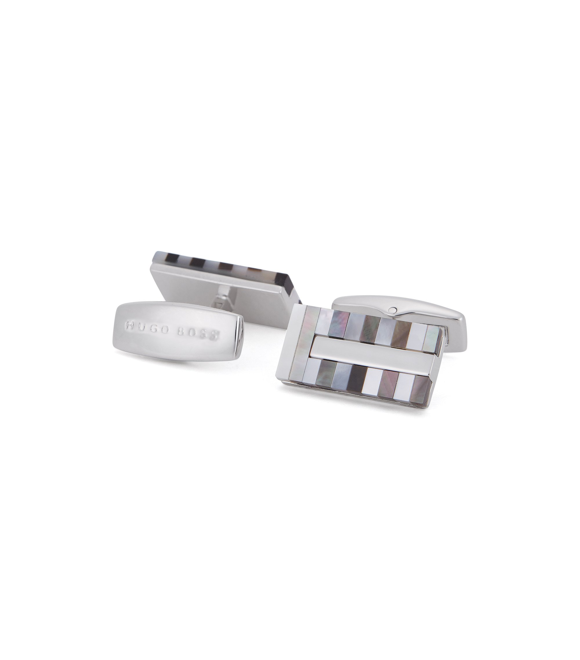 Striped Mother-of-Pearl & Brass Cufflinks | T-Cliff, Light Grey