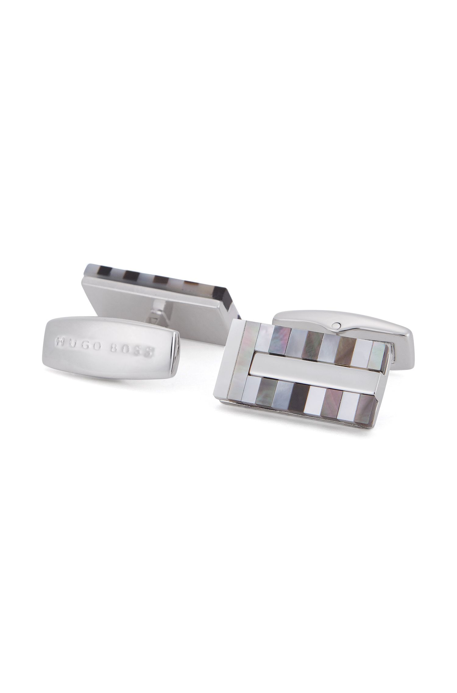 Striped Mother-of-Pearl & Brass Cufflinks | T-Cliff