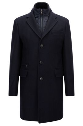 'Nadim' | Wool Blend Twill Topcoat, Dark Blue