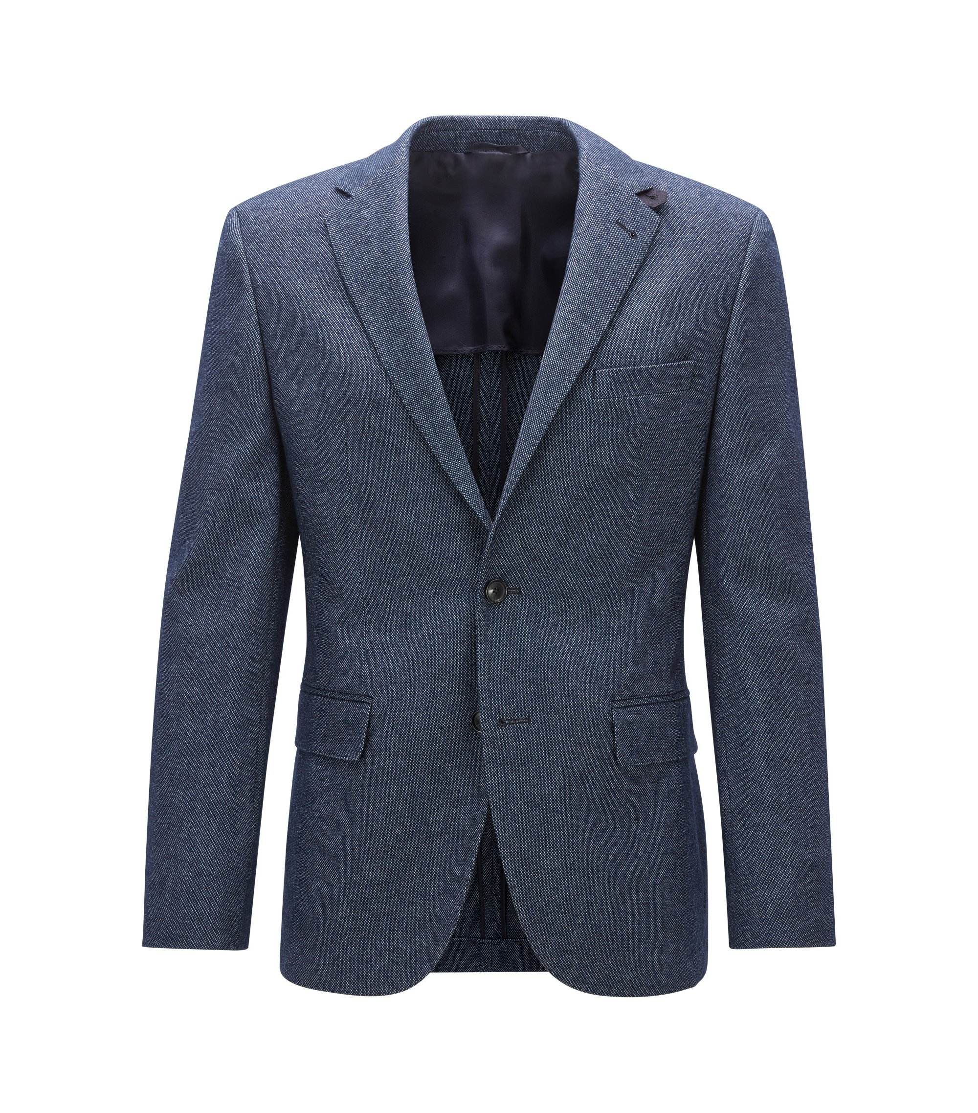 Melange Stretch Virgin Wool Sport Coat, Regular Fit | Jestor, Blue