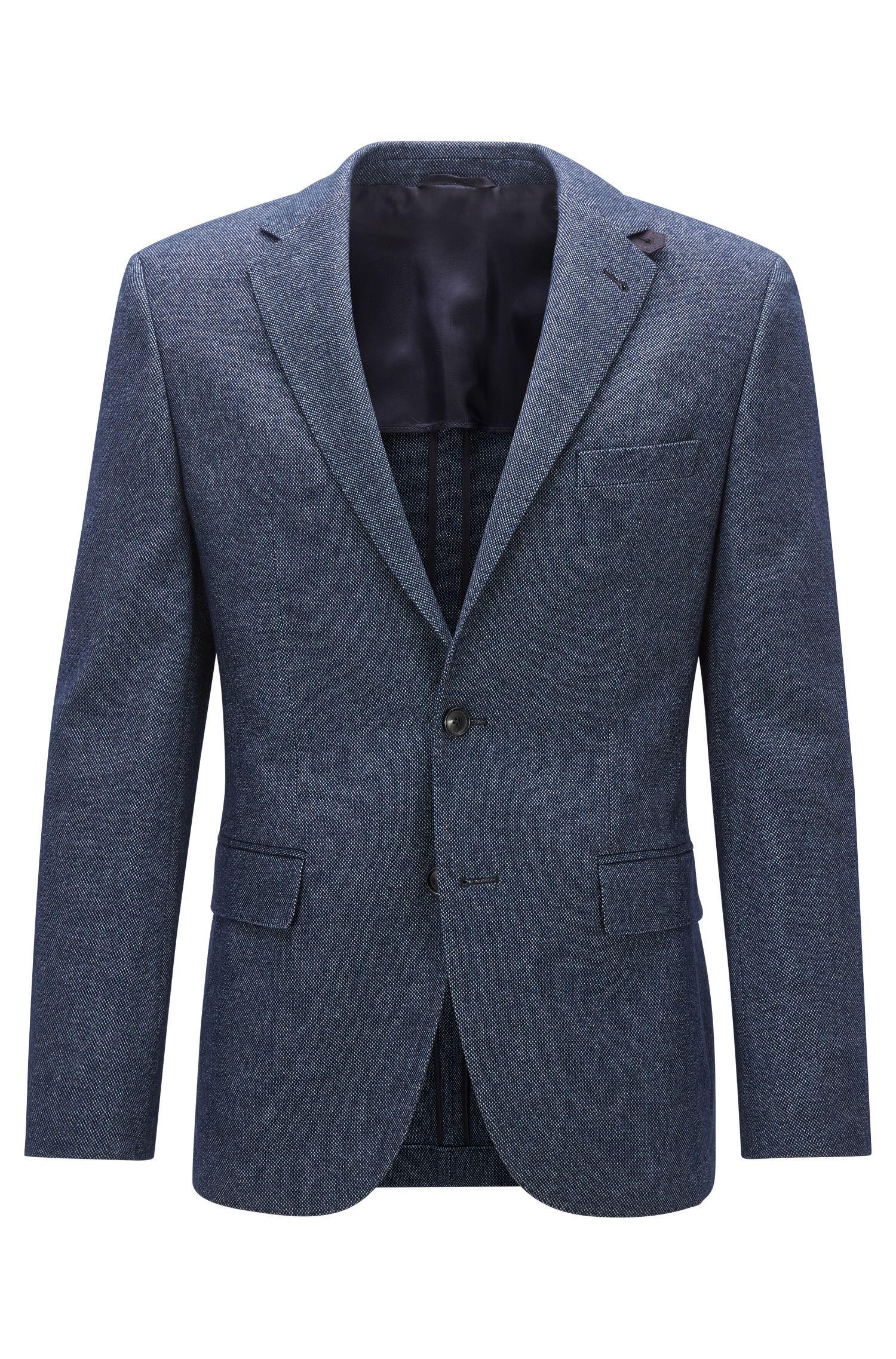 Melange Stretch Virgin Wool Cotton Sport Coat, Regular Fit   Jestor
