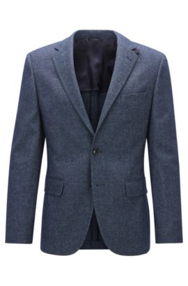 Melange Stretch Virgin Wool Cotton Sport Coat, Regular Fit | Jestor, Blue