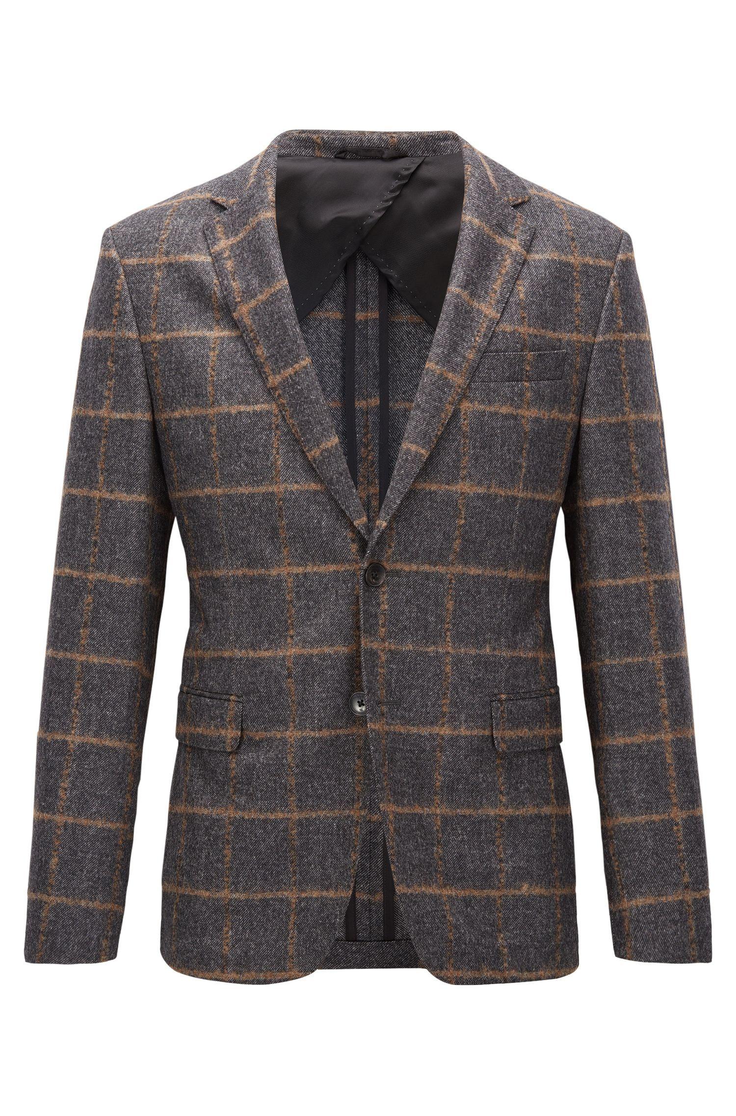 Virgin Wool Sport Coat, Slim Fit   Nobis