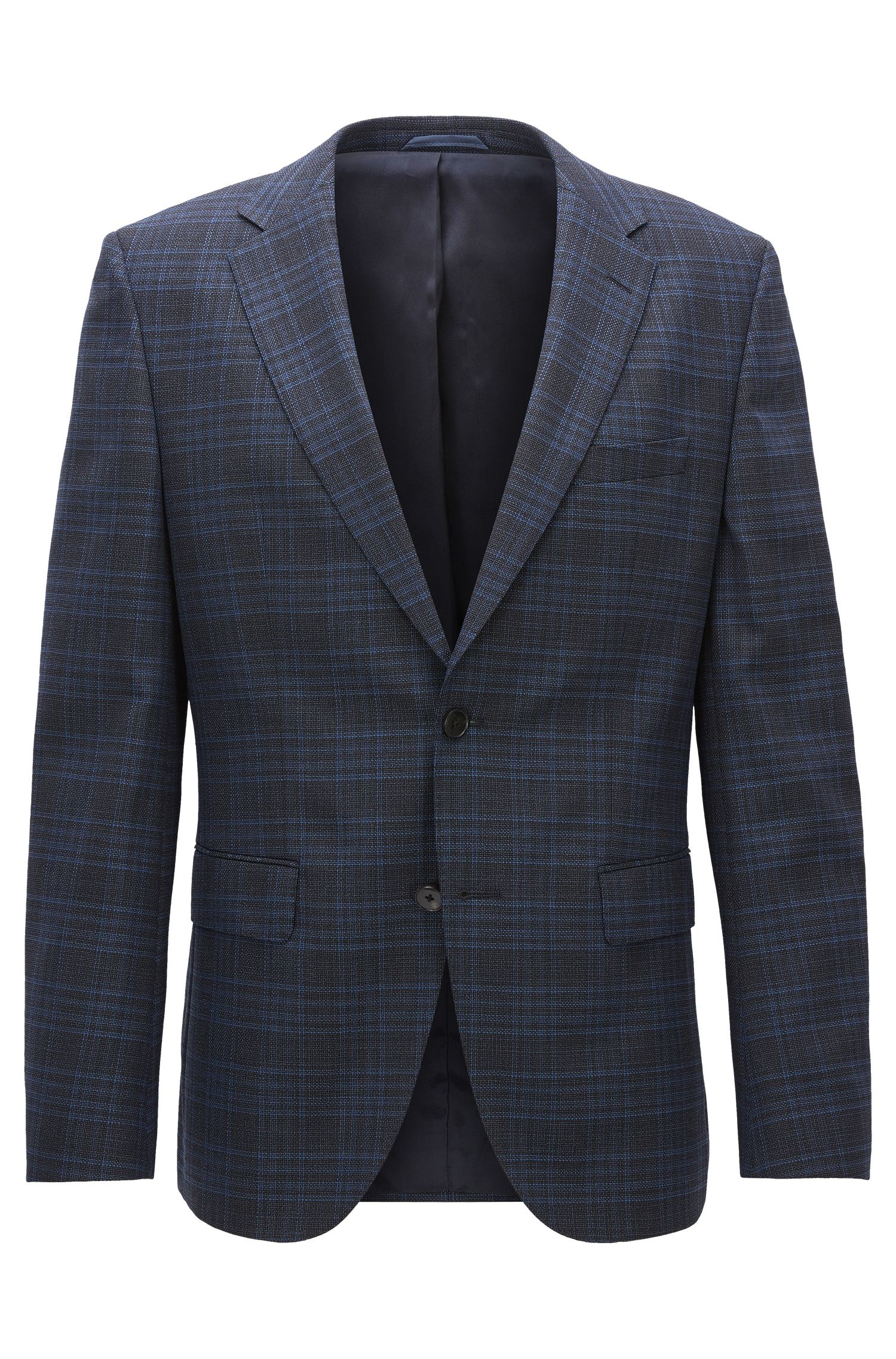Plaid Stretch Wool Sport Coat, Regular Fit | Jeen, Dark Blue
