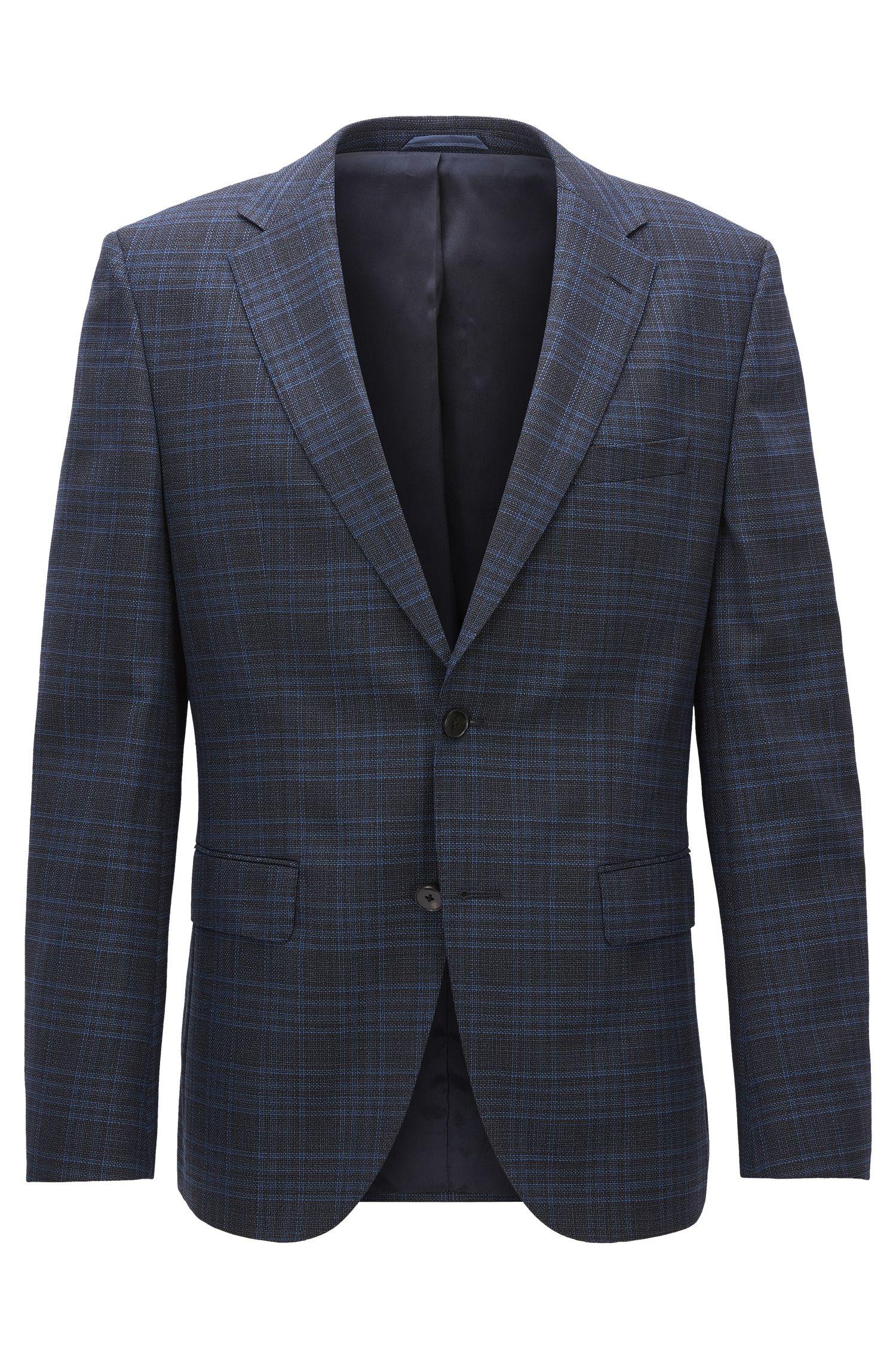 Glen Plaid Stretch Virgin Wool Sport Coat, Regular Fit | Jeen