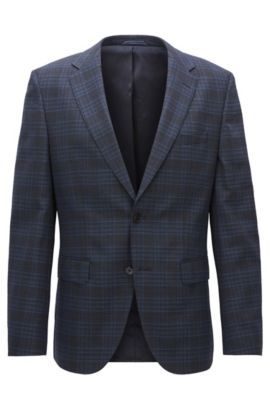 Glen Plaid Stretch Virgin Wool Sport Coat, Regular Fit | Jeen, Dark Blue