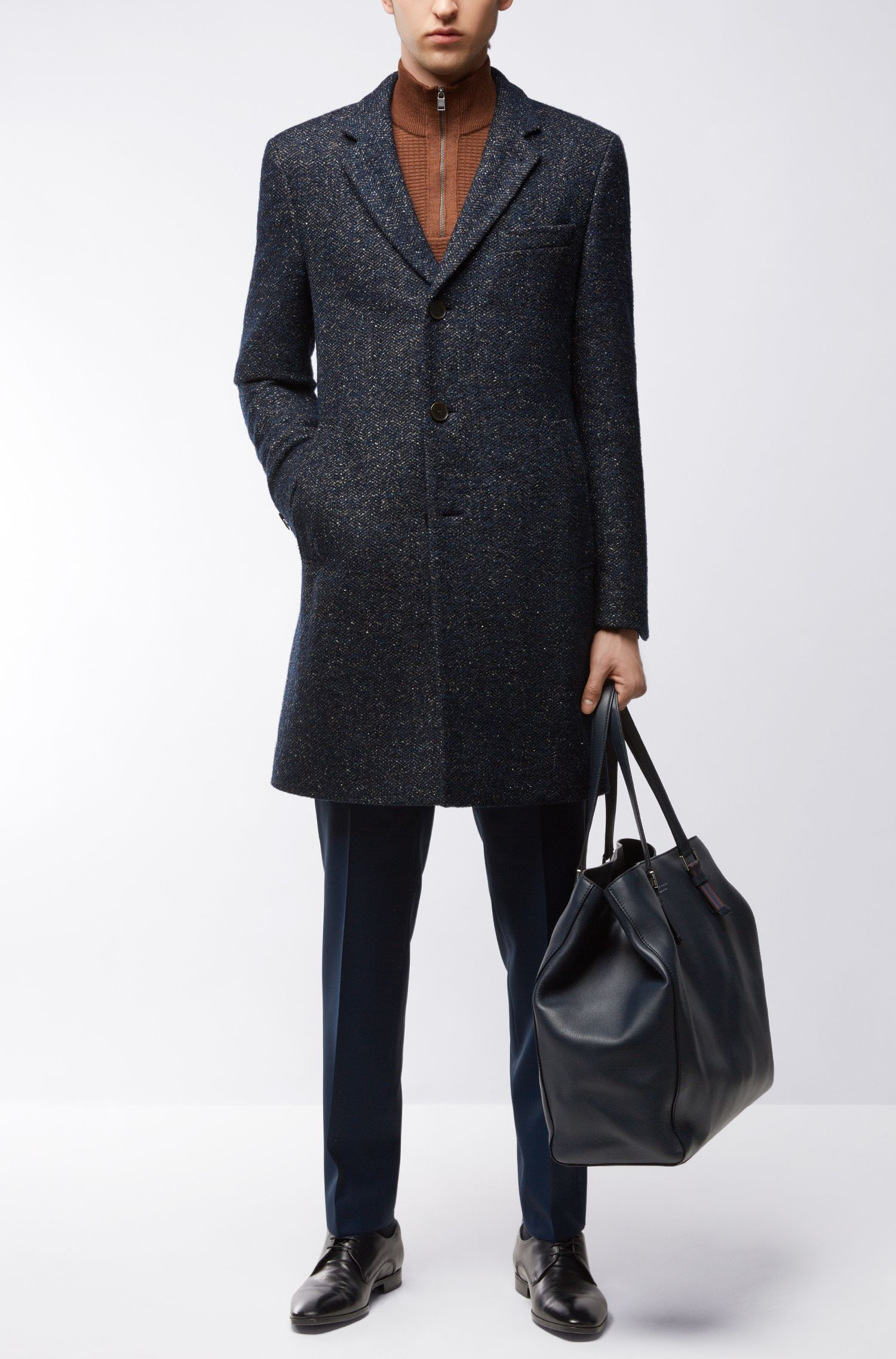 Virgin Wool Blend Twill Coat | Nye, Blue