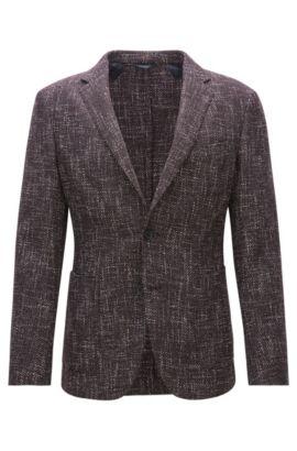 Virgin Wool Blend Tweed Sport Coat, Slim Fit | Nold, Dark Red