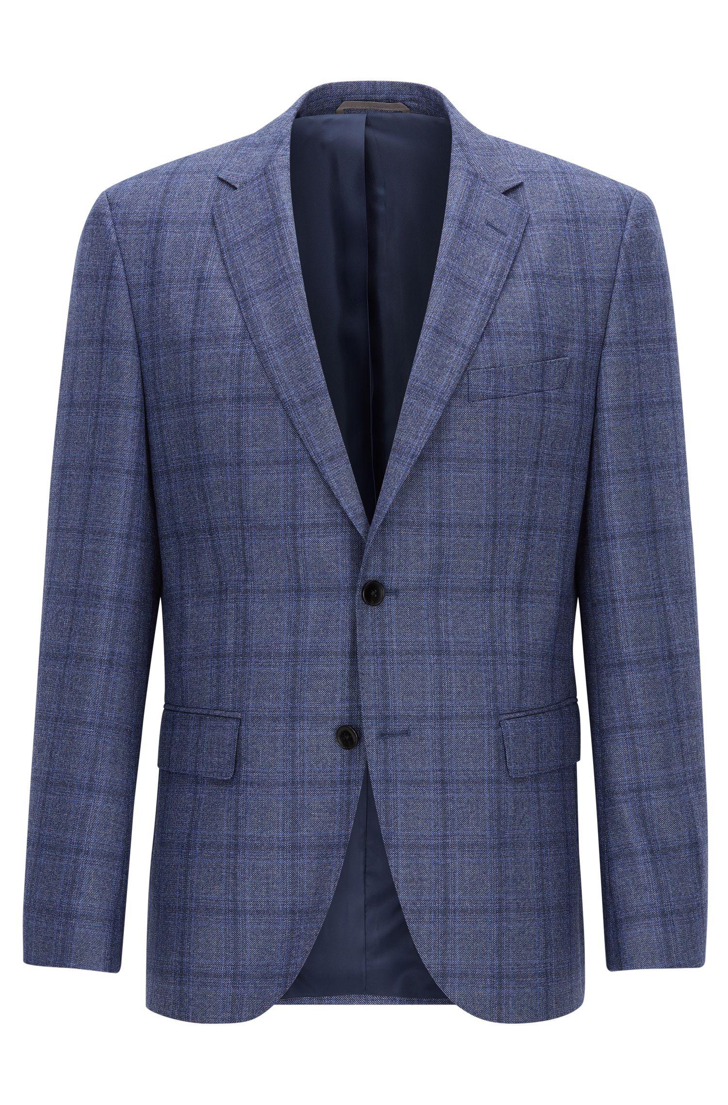 Windowpane Virgin Wool Sport Coat, Regular Fit   Jeen