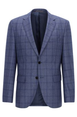 Windowpane Virgin Wool Sport Coat, Regular Fit | Jeen, Blue