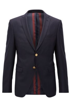 Virgin Wool Sport Coat, Extra Slim Fit | Rainald, Dark Blue