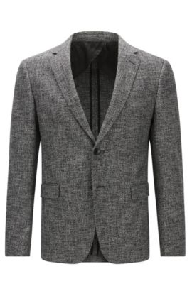 Stretch Cotton Wool Sport Coat, Slim Fit | Nobis, Black