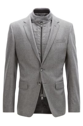 Stretch Virgin Wool-Cashmere Sport Coat, Slim Fit | Hadwart, Grey