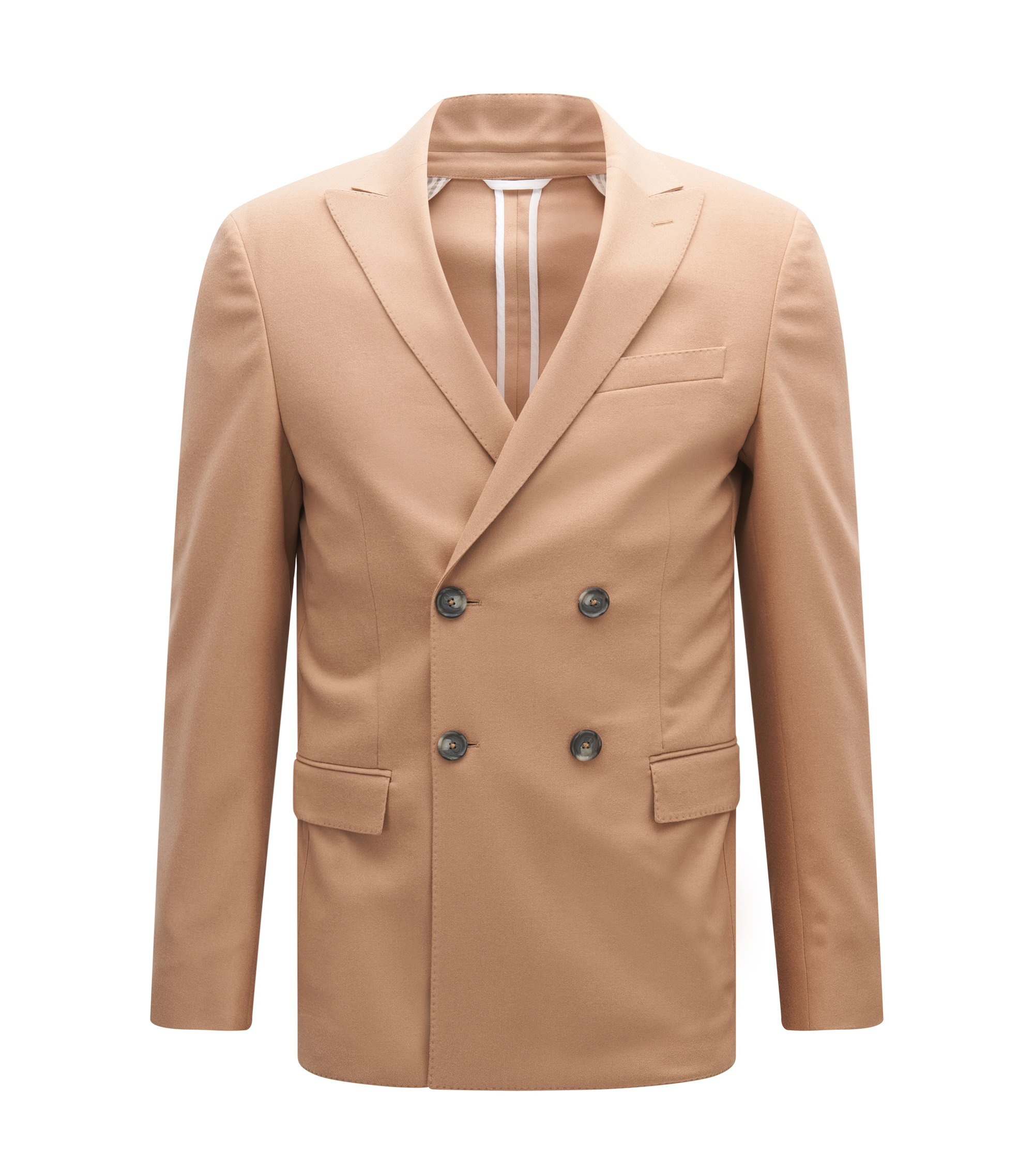 Virgin Wool Cashmere Sport Coat, Slim Fit | Namis, Beige