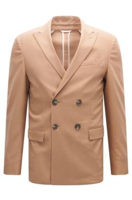 Virgin Wool Cashmere Sport Coat, Slim Fit | Namis, Beige