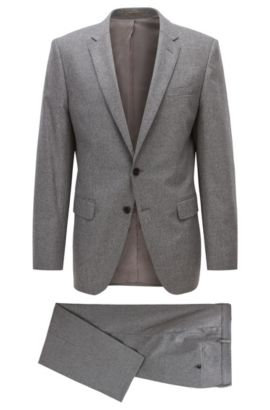 Stretch Virgin Wool Cashmere Suit, Slim Fit | Huge/Genius, Grey