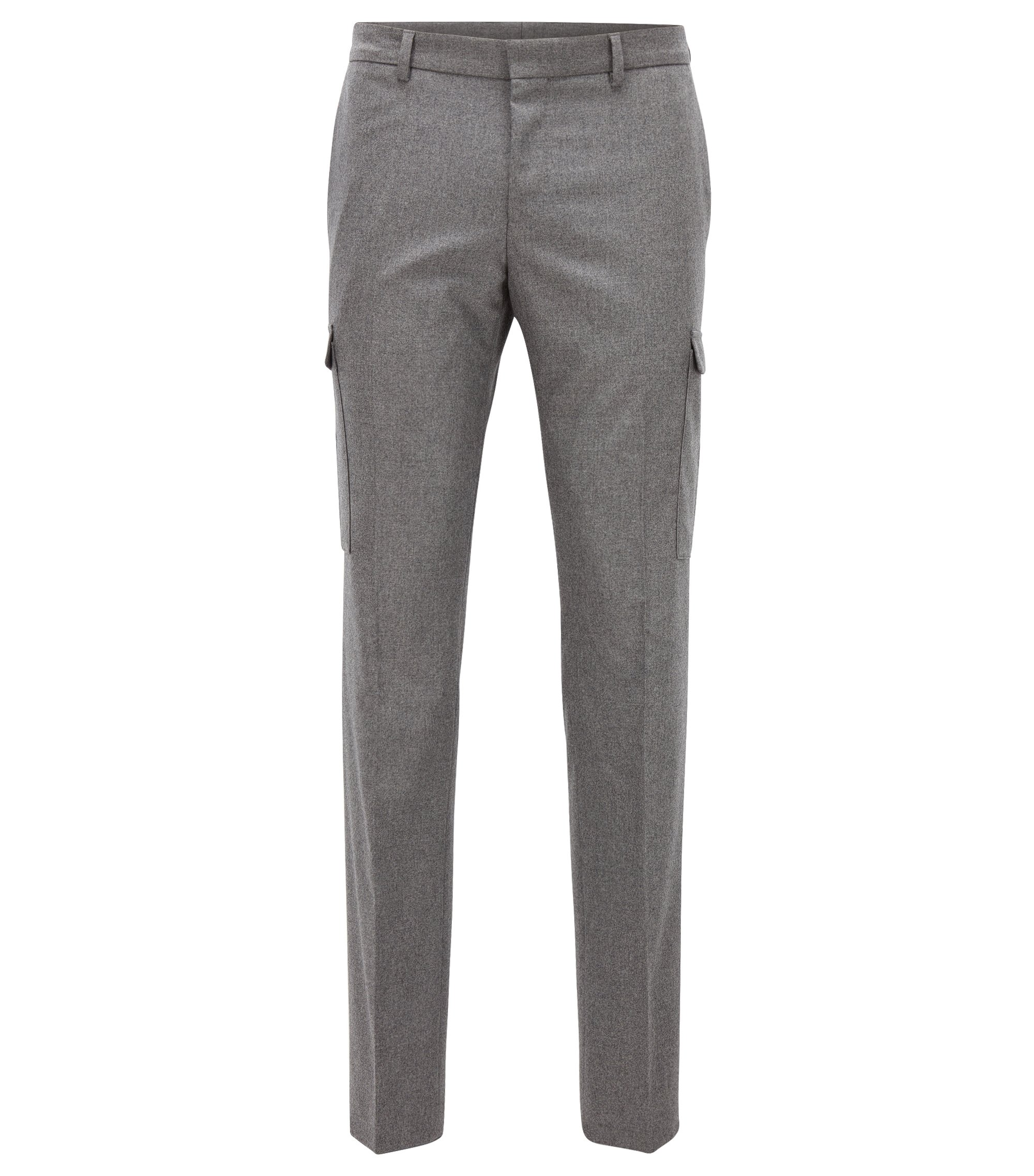 Stretch Virgin-Wool Cashmere Cargo Pant, Extra Slim Fit | Balour, Grey