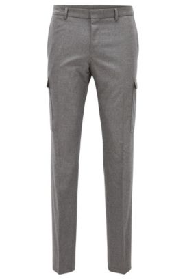 Stretch Virgin-Wool Cashmere Cargo Pants, Extra Slim Fit | Balour, Grey