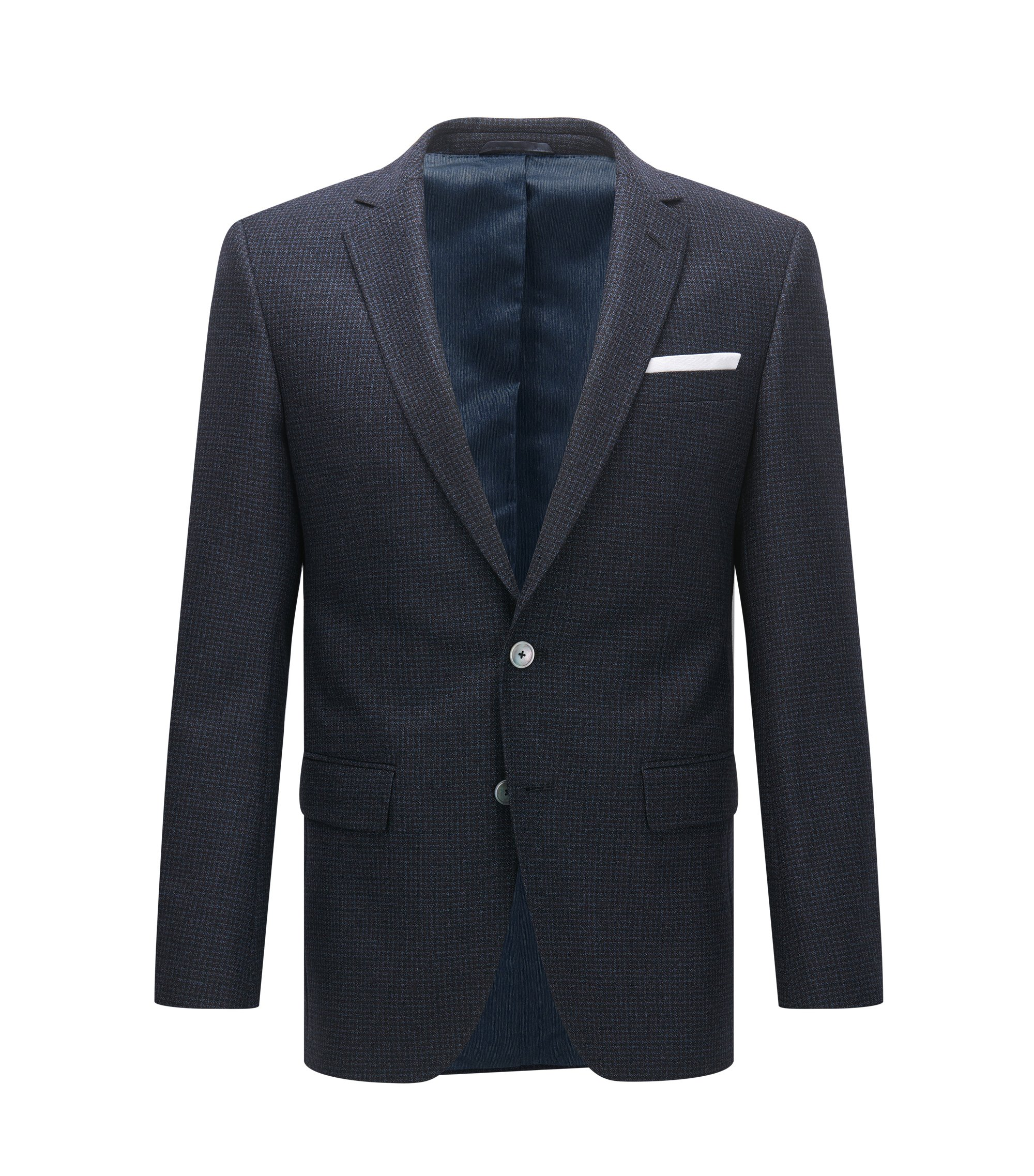 Micro-Check Virgin Wool Sport Coat, Slim Fit | Hutsons, Dark Blue