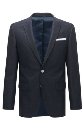 Micro-Check Super 100 Virgin Wool Sport Coat, Slim Fit | Hutsons, Dark Blue