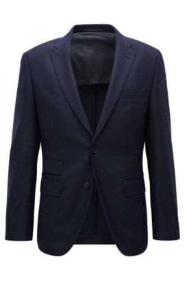 Stretch Virgin Wool Travel Sport Coat, Regular Fit | Jet, Dark Blue