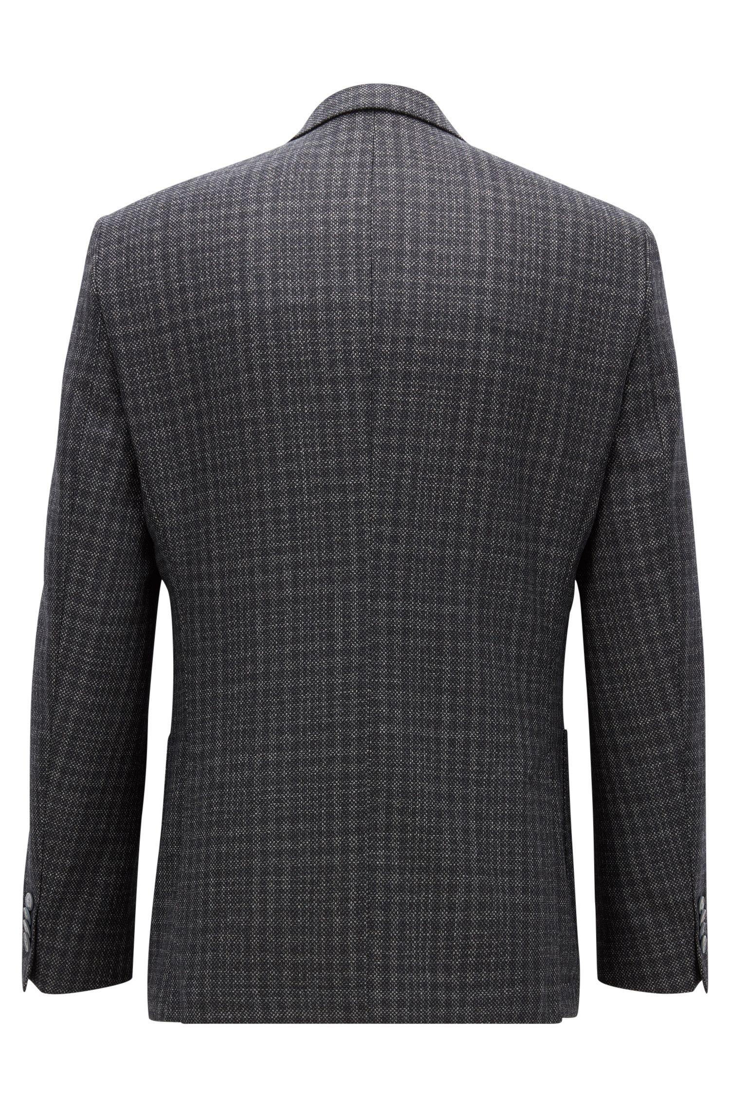 Patterned Italian Virgin Wool Silk Sport Coat, Regular Fit | Janson