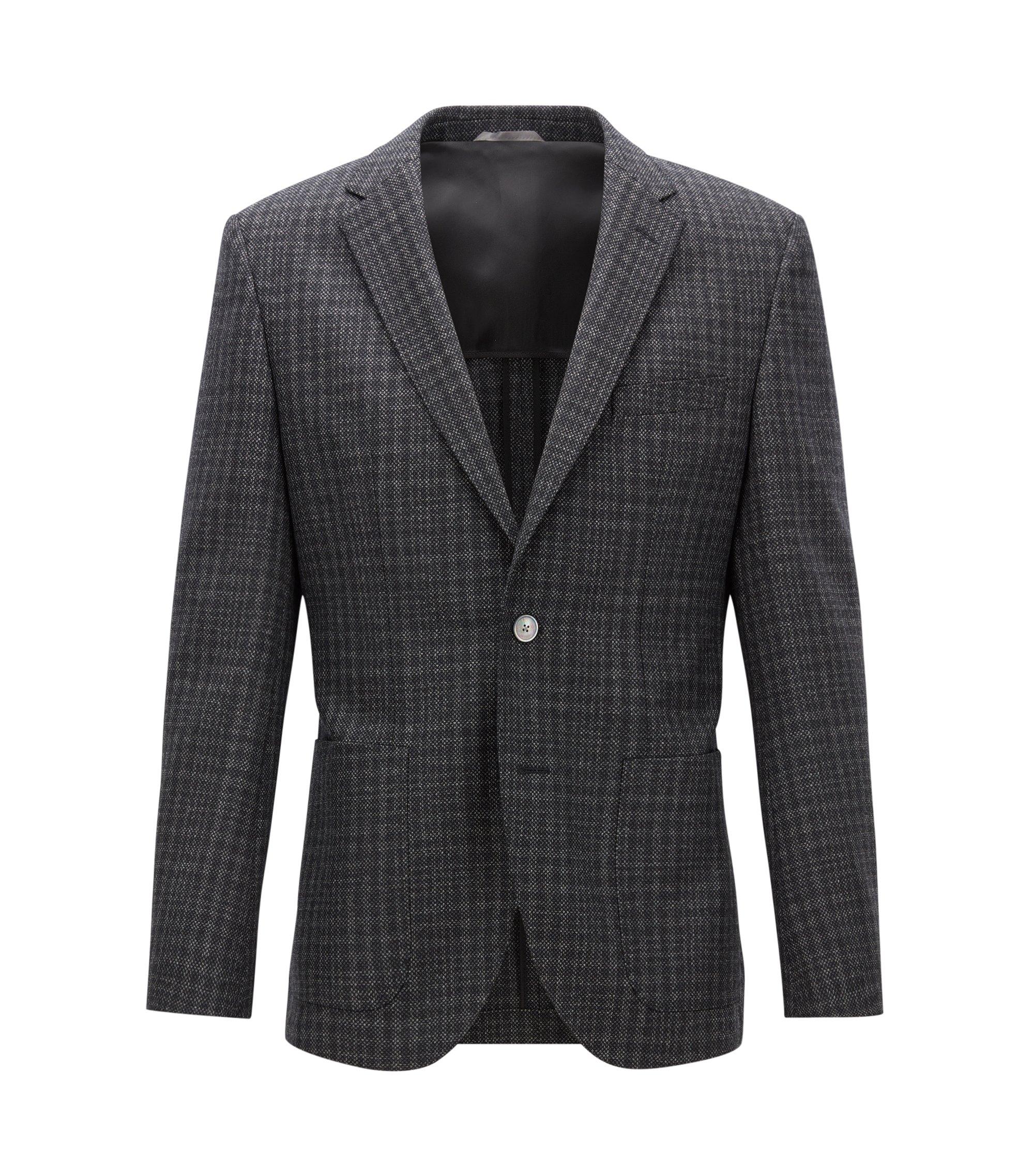 Patterned Italian Virgin Wool Silk Sport Coat, Regular Fit   Janson, Open Grey