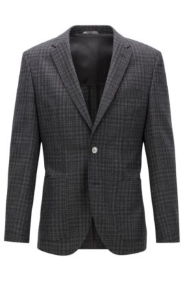 Patterned Italian Virgin Wool Silk Sport Coat, Regular Fit | Janson, Open Grey