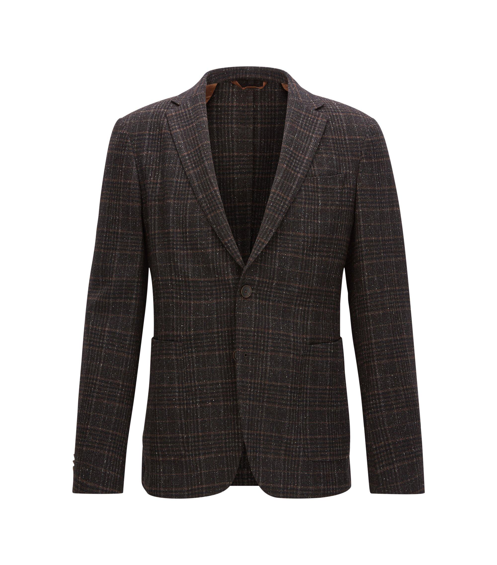 Plaid Wool Blend Sport Coat, Slim Fit | Nold, Dark Brown