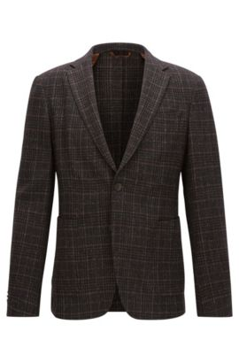 Plaid Wool Blend Sport Coat, Slim Fit | Nold, Dark Brown