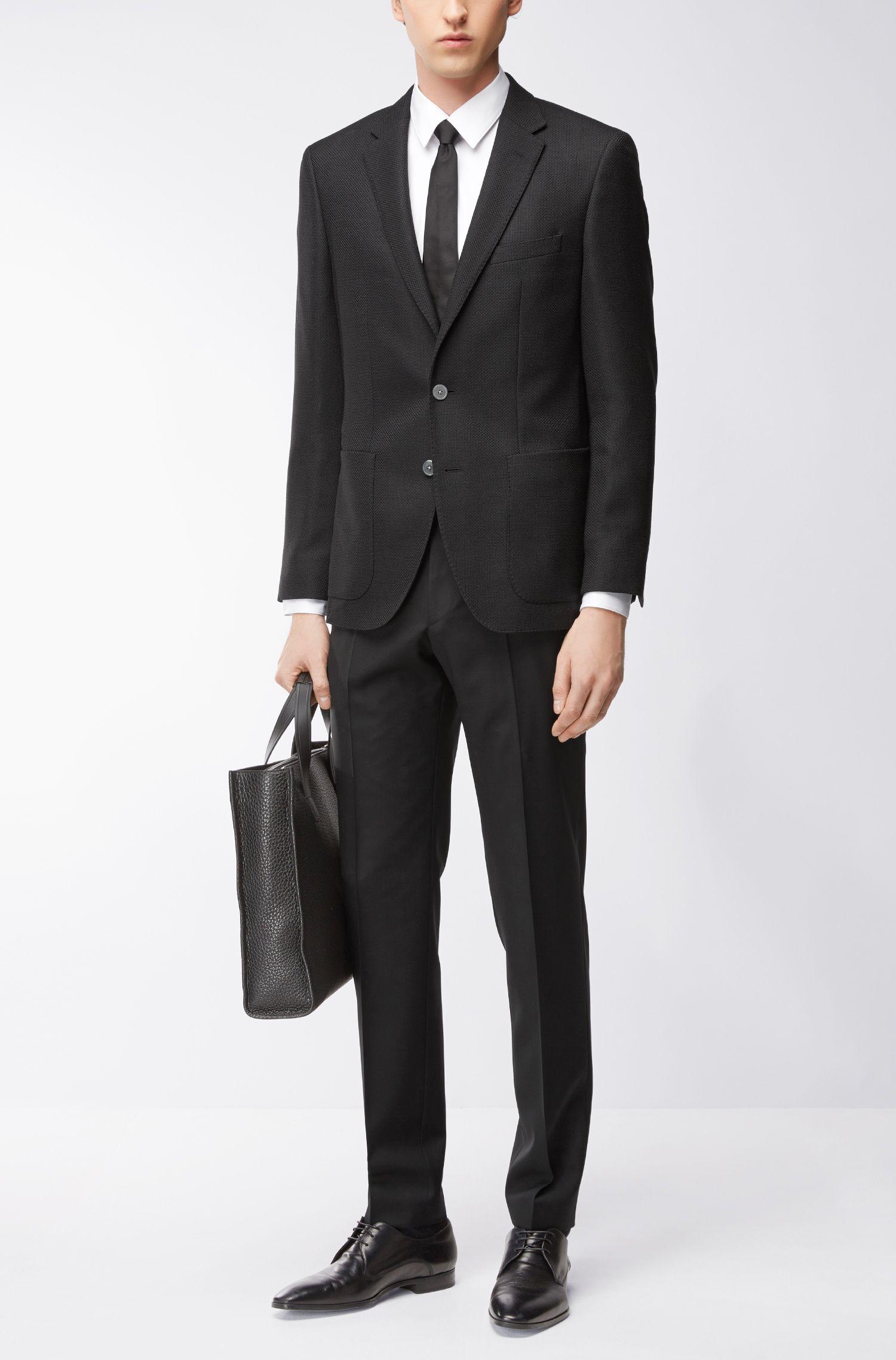 Basketweave Virgin Wool Sport Coat, Regular Fit   Janson, Black