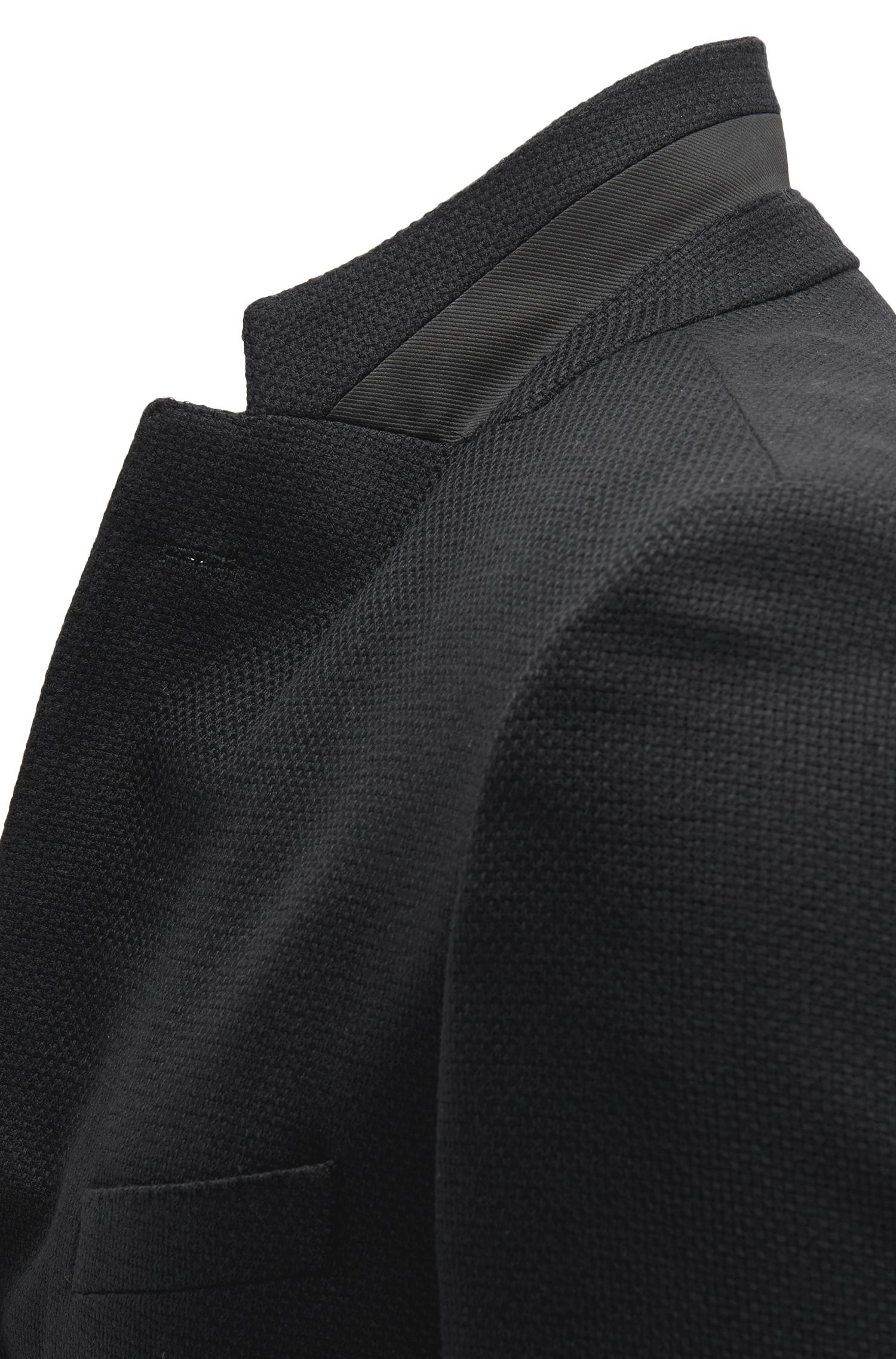 Basketweave Virgin Wool Sport Coat, Regular Fit | Janson, Black