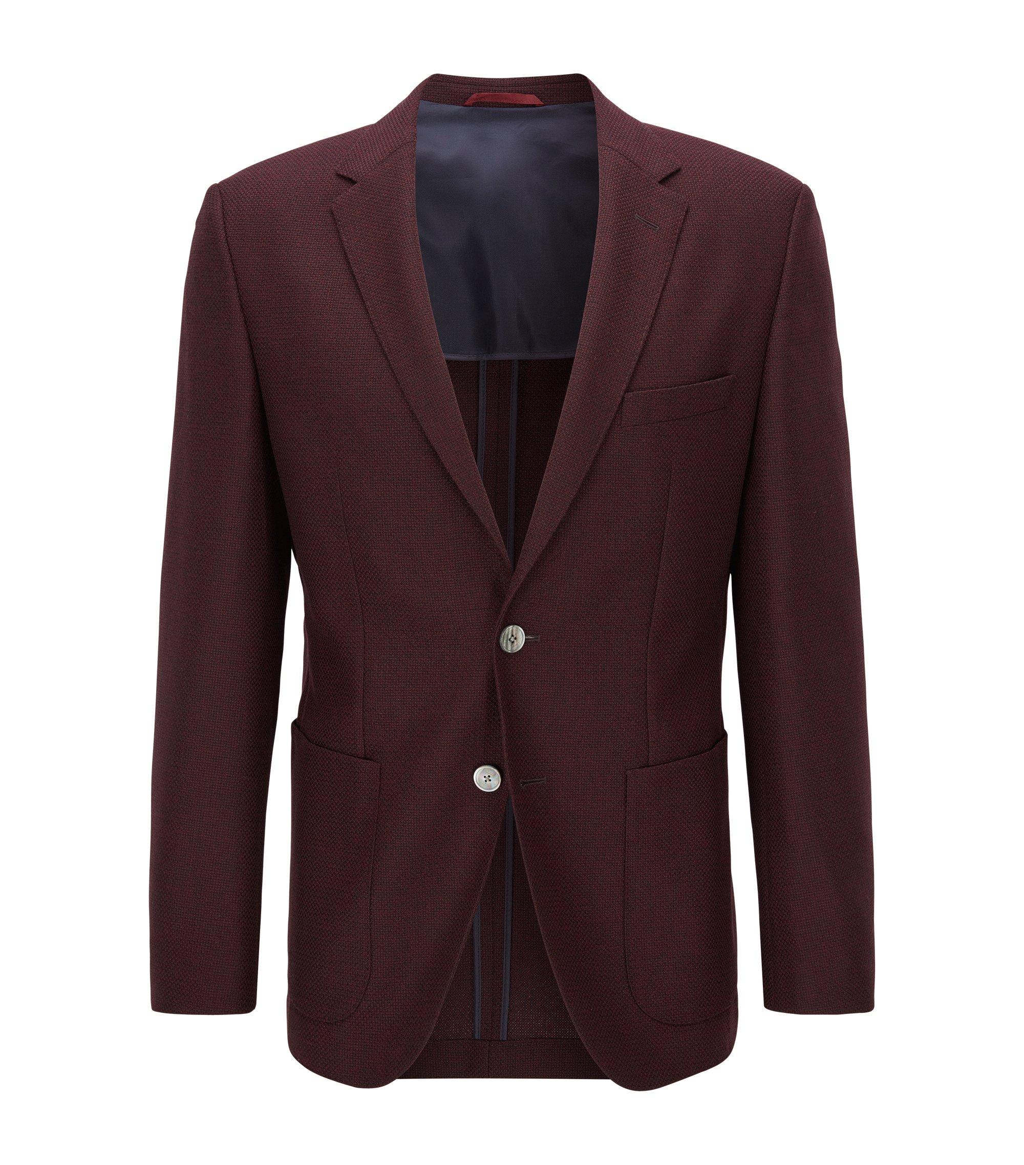 Basketweave Virgin Wool Sport Coat, Regular Fit   Janson, Dark Red