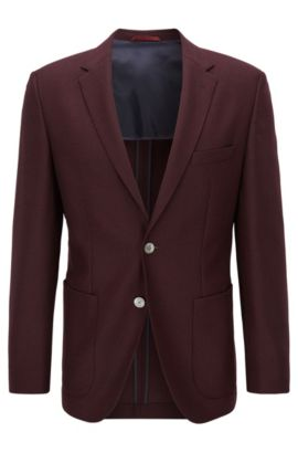 Basketweave Virgin Wool Sport Coat, Regular Fit | Janson, Dark Red