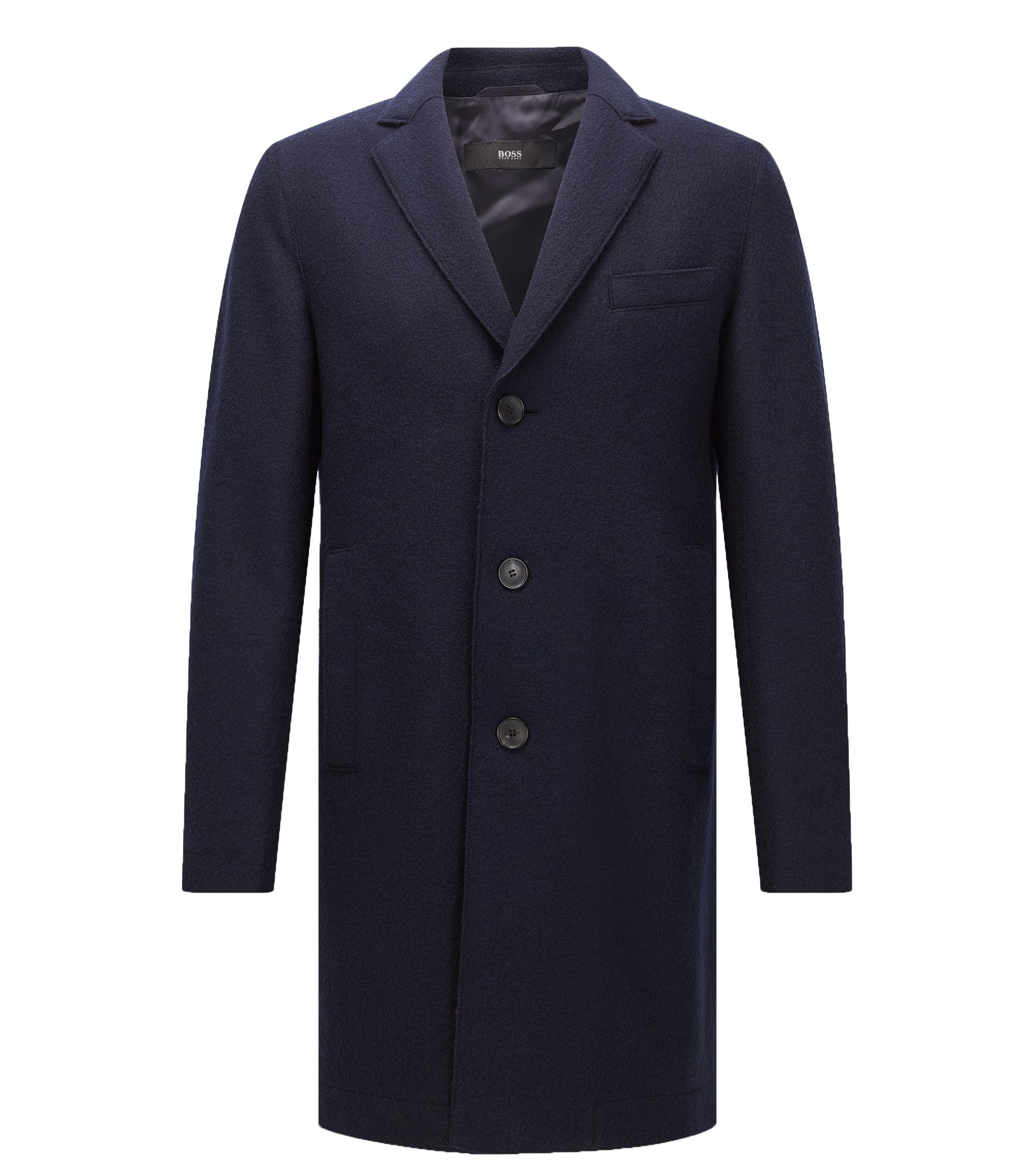 Virgin Wool Coat | Shawn, Dark Blue
