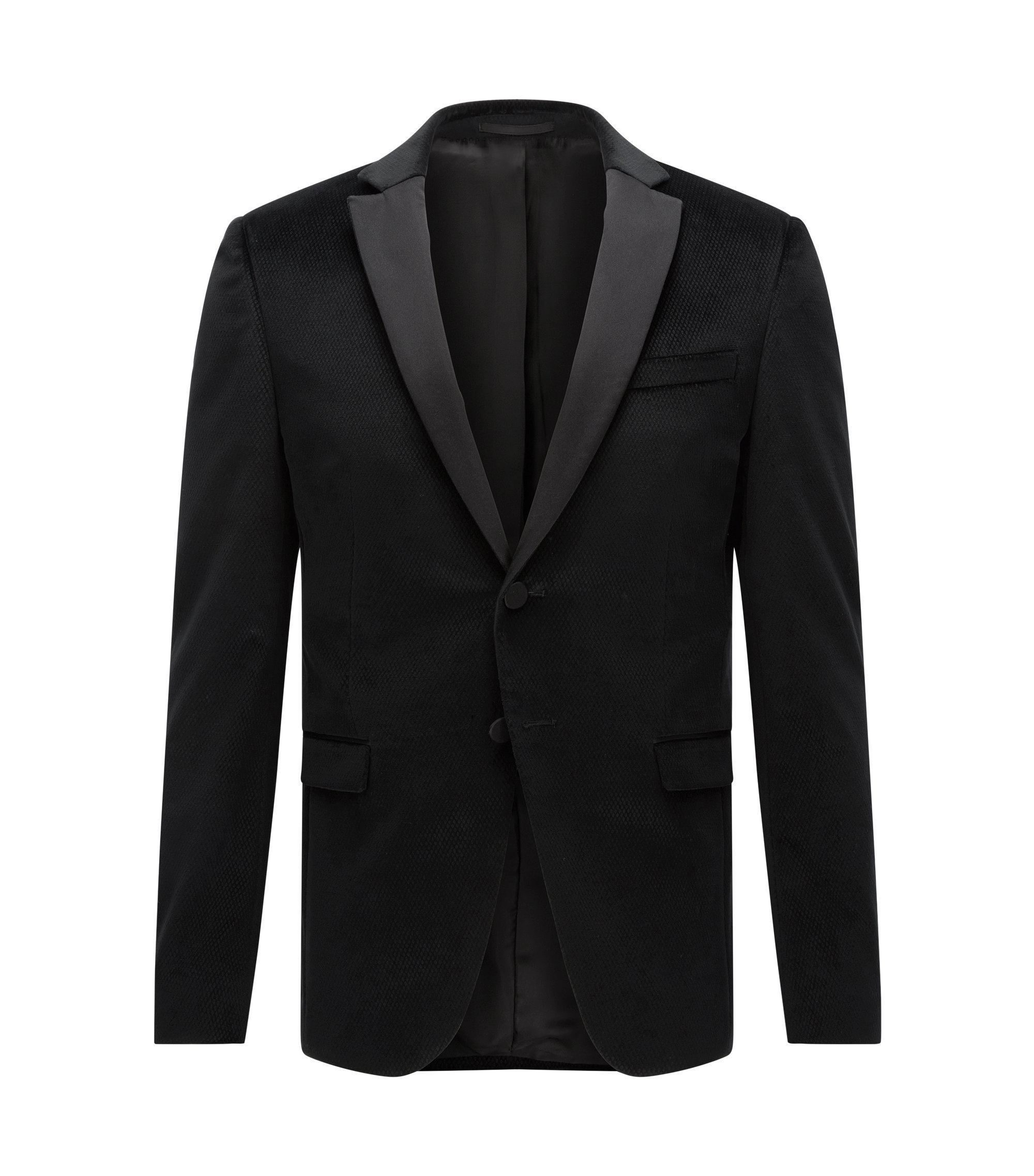 Diamond Cotton Dinner Jacket, Extra Slim Fit | Rainald, Black