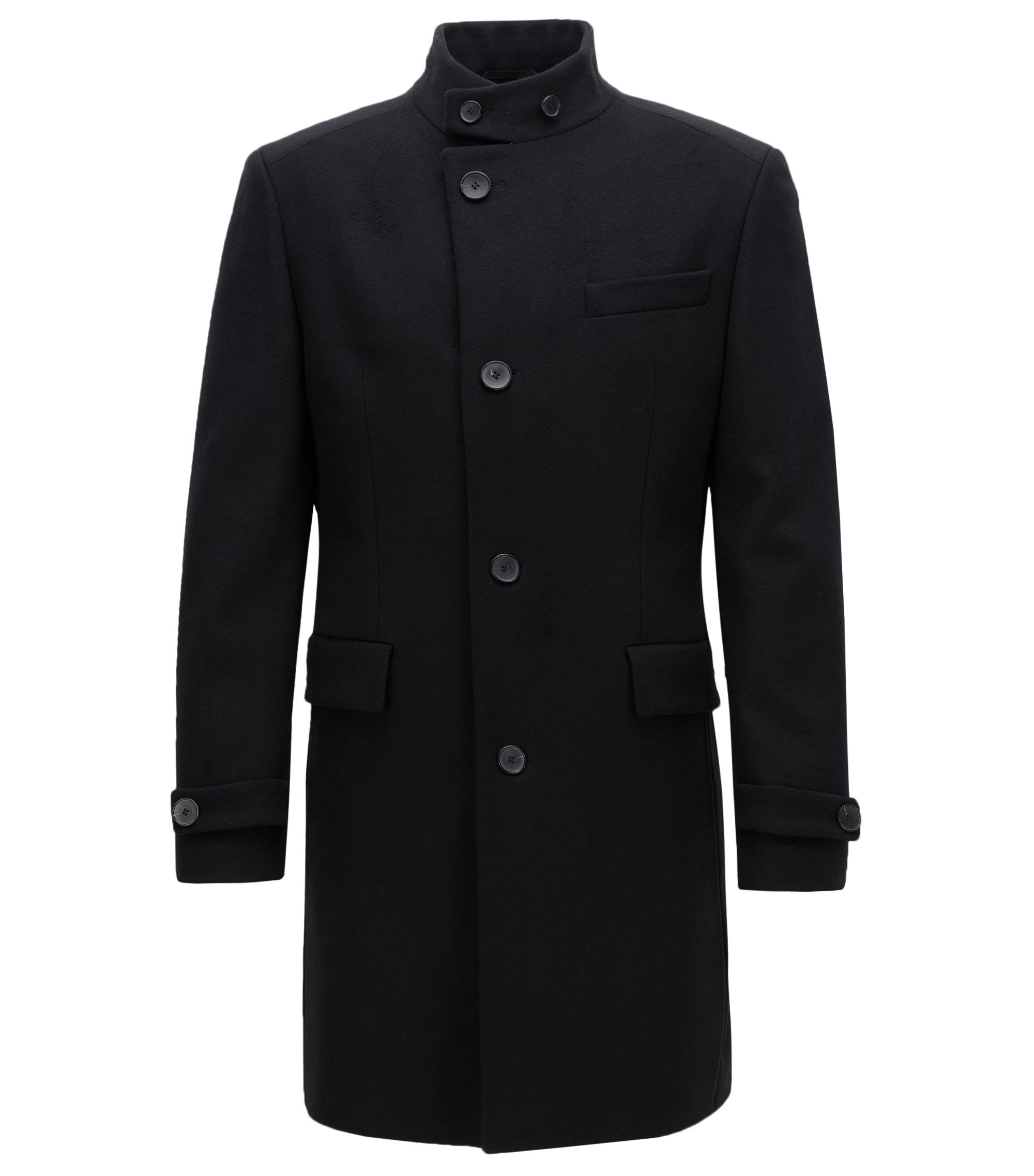 Virgin Wool Cashmere Coat | Sintrax, Black