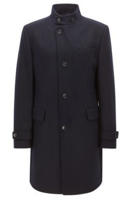Virgin Wool Cashmere Coat | Sintrax, Dark Blue