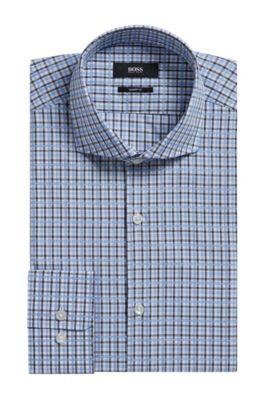 Plaid Cotton Dress Shirt, Sharp Fit   Mark US, Dark Grey