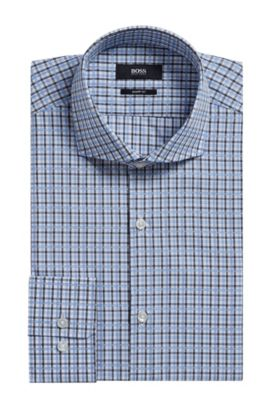 Plaid Cotton Dress Shirt, Sharp Fit | Mark US, Dark Grey