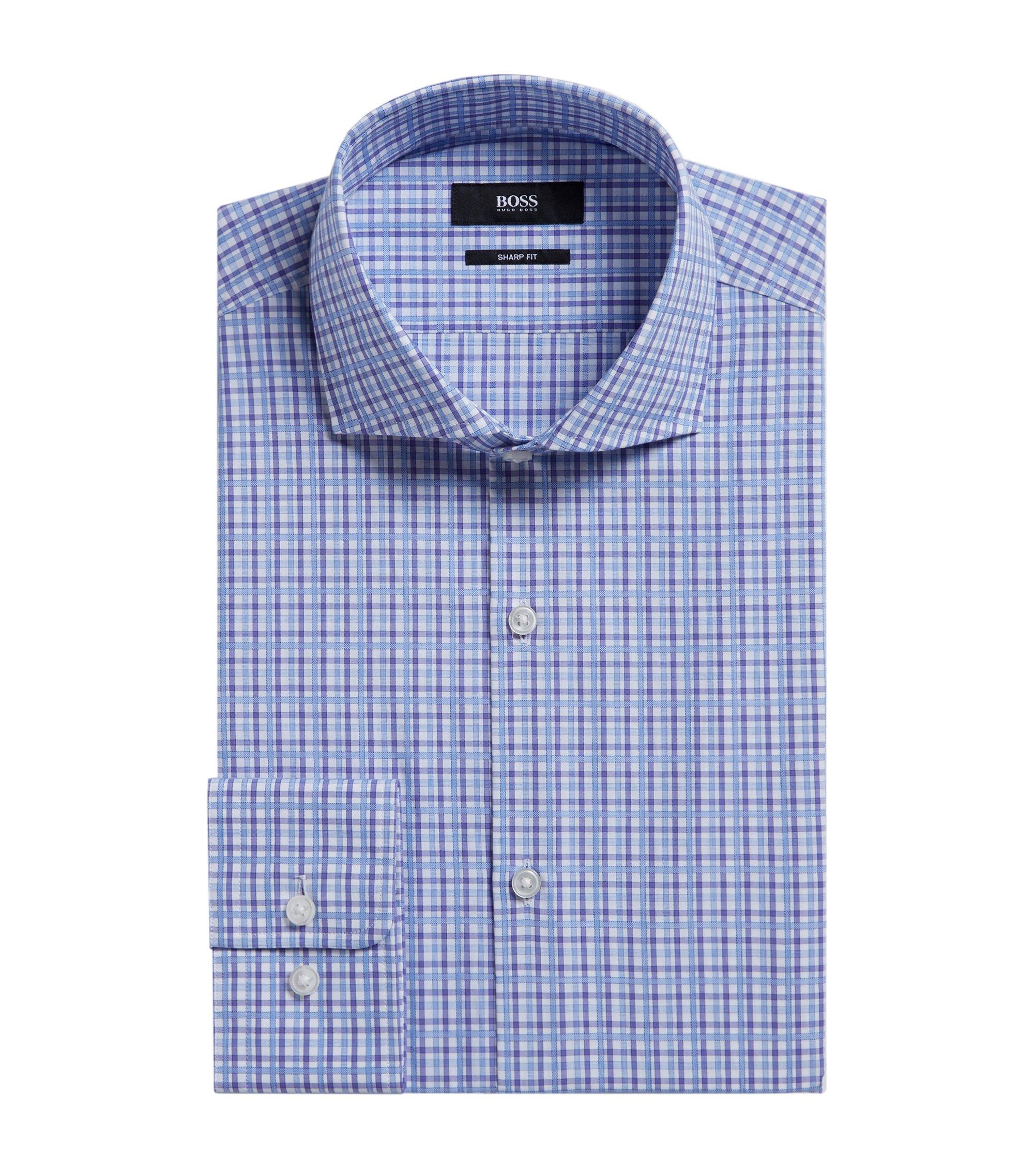Plaid Cotton Dress Shirt, Sharp Fit   Mark US, Purple