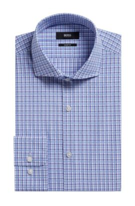 Plaid Cotton Dress Shirt, Sharp Fit | Mark US, Purple