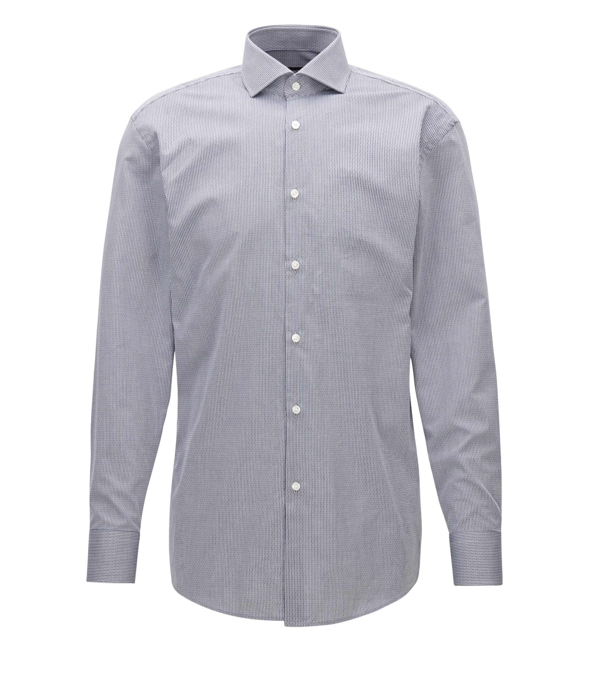Pinstripe Patterned Cotton Dress Shirt, Sharp Fit | Mark US, Dark Grey