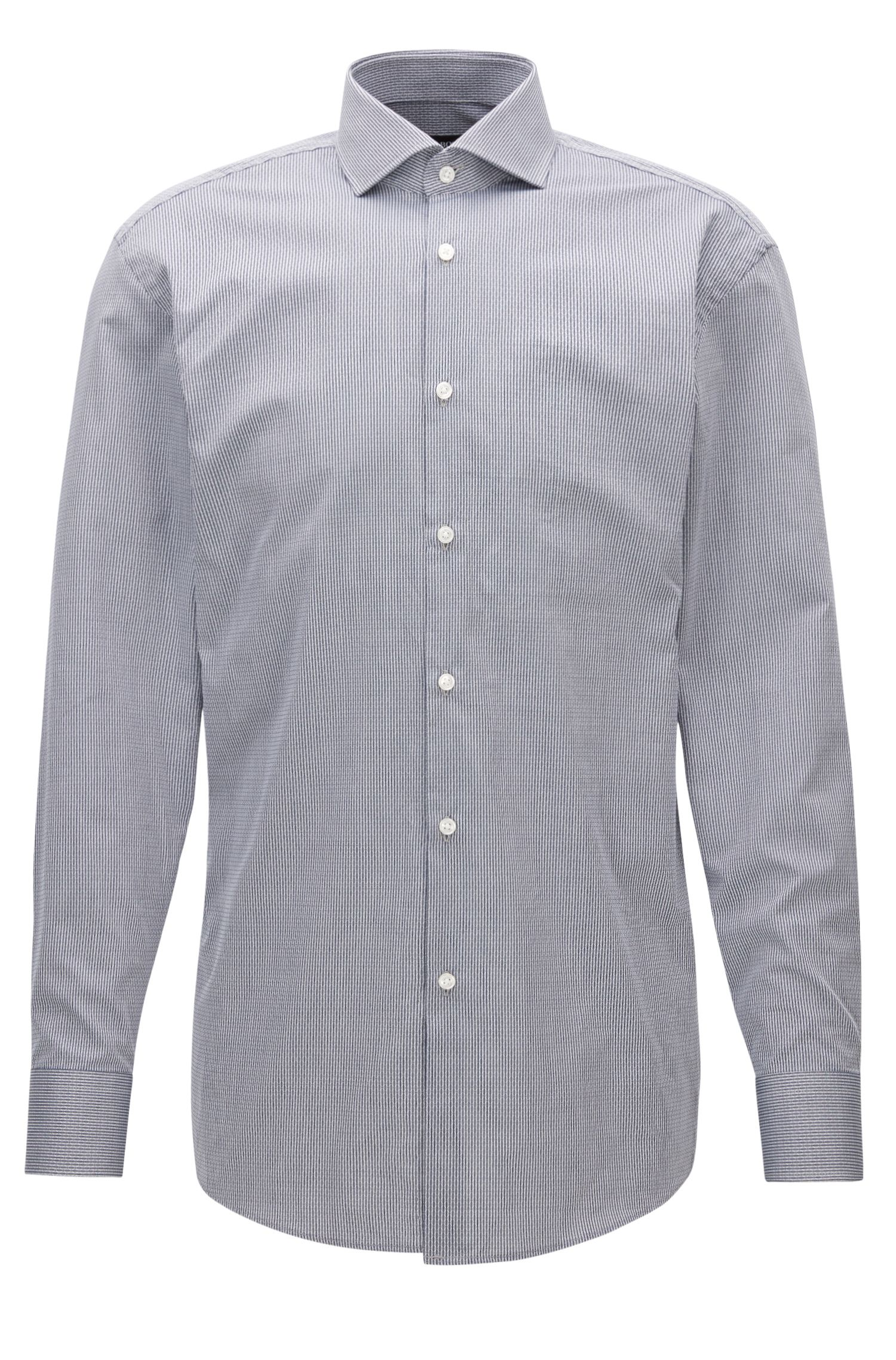 Pinstripe Patterned Cotton Dress Shirt, Sharp Fit | Mark US
