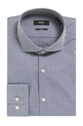 Pinstripe Patterned Cotton Dress Shirt, Shar Fit | Mark US, Dark Grey